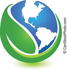 wereldkaart, blad, logo