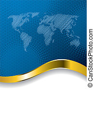 wereldkaart, informatieboekje , blauwe , halftone, zakelijk, ontwerp
