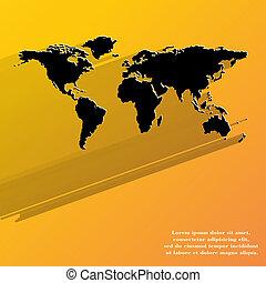 wereldkaart, pictogram, web ontwerp, plat