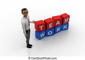 werken, concept, 3d, man, team