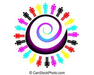 werken, kleurrijke, concept, team