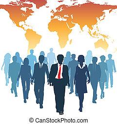 werken, zakenlui, globaal, menselijk, team, middelen