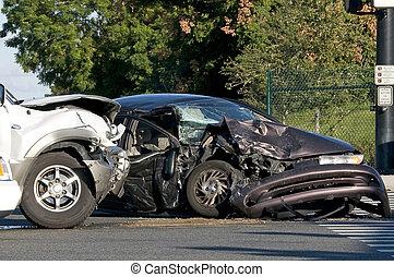 werkende, kruising, ongeluk, twee, voertuig