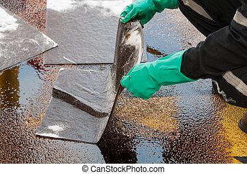werkende , schoonmaakbeurt, area., morsen, olie