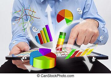 werkende , tablet, -, diagrammen, computer, zakenman, het produceren