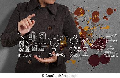 werkende , zakelijk, zakenman, kunst, strategie, hand