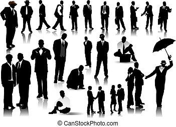 werkkring mensen, kleur, silhouettes., een, vector, klikken, veranderen