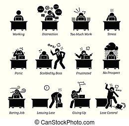 werkkring werker, stressful, workplace., zeer, werkende