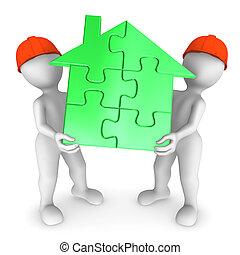 werkmannen , mensen., house., 2, groene, kleine, houden, raadsel, 3d