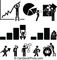 werknemer, financiën, zakelijk, tabel