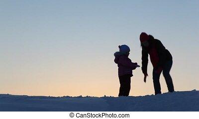 werpen, kind, silhouette, sneeuw, moeder