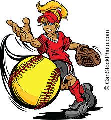 werper, bal, toernooi, softbal, vasten, kunst, illustratie, fastpitch, pek, vector, spotprent, gooien