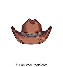 westelijk, isolated., schets, cowboy, amerikaans pictogram, spotprent, vector, hoedje, illustratie