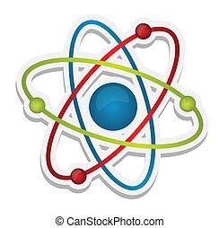 wetenschap, abstract, pictogram, atoom