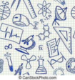 wetenschap, doodles, seamless, model