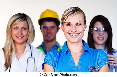 wetenschapper, arts, multi-profession, -, ingenieur, businesswoman, het glimlachen, fototoestel