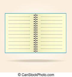 wettelijk, pad., vector., gele, leeg, aantekenboekje