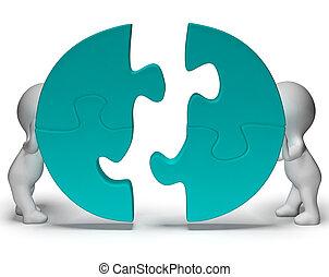 wezen, het tonen, jigsaw, verbonden, stukken, teamwork, togetherness
