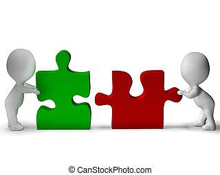 wezen, samenwerking, jigsaw, verbonden, stukken, teamwork, optredens