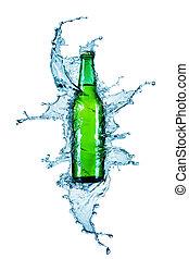 wezen, water, bier, geregen, fles