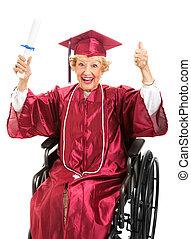 wheelchair, bejaarden, afstuderen