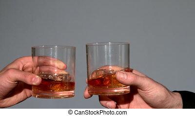 whisky, bril, mannen, clinking