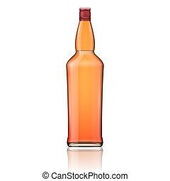 whisky, cap., rode fles, glas