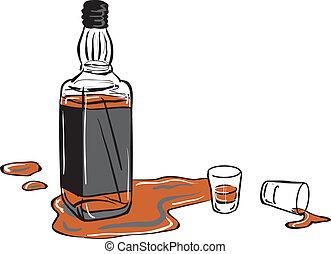 whisky vuurde, fles, bril
