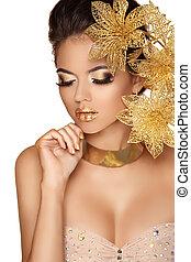 white., professioneel, meisje, makeup., perfect, make-up., mode, mooi, vrijstaand, model, vrouw, face., art., beauty, decoratief, flowers., skin.