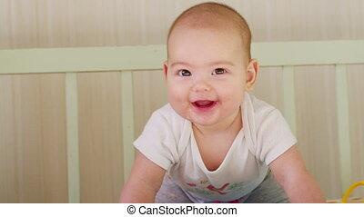 wiegje, vrolijke , baby, smiles., ligt