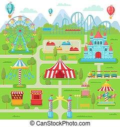 wiel, kustvaarder, gezin, amusement, straatfeest, map., park, illustratie, ferris, vector, vermaak, aantrekkingen, rol, draaimolen