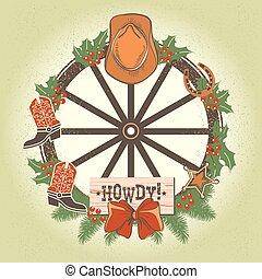 wiel, oud, cowboy, krans, hout, westelijk, decoraties, kerstmis