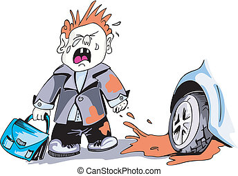 wiel, schreeuwende jongen, auto