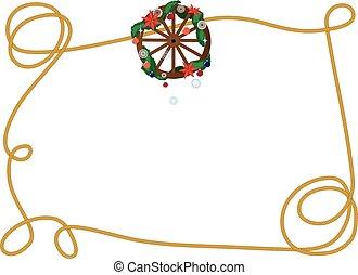 wiel, wagon, frame, kerstmis