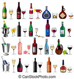 wijn fles, drinkbeker, set, witte