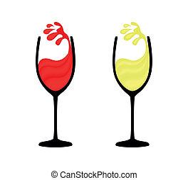 wijnglas, rode wijn, witte