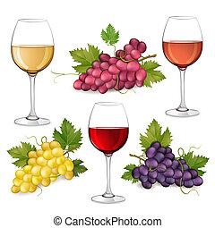 wijnglasen, druiven