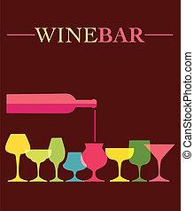 wijnglasen, gieten, colorfull