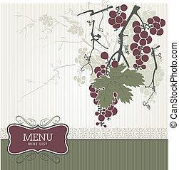 wijntje, -, menu, ouderwetse , lijst