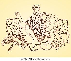 wijntje, tekening, themed