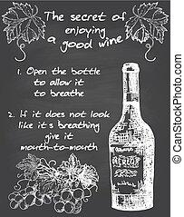 wijntje, vector, chalkboard, ouderwetse , poster, typografie