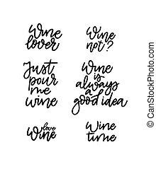 wijntje, vector, set., citaten, minnaars, bar, plezier