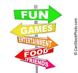 wijzende, amusement, activiteit, plezier, tekens & borden, richtingen