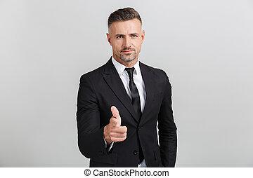 wijzende, beeld, zeker, volwassene, kostuum, zakenman, u, formeel, vinger
