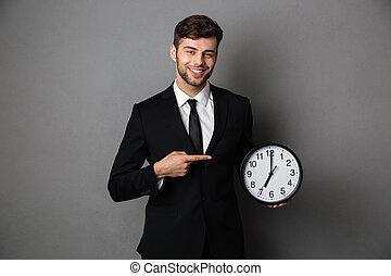 wijzende, classieke, groot, klok, het kijken, fototoestel, black , aantrekkelijk, kostuum, zakenman, vinger