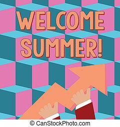 wijzende, foto, weer, boven., reusachtig, kleurrijke, schrijvende , start, warme, gaan, vasthouden, tekst, conceptueel, nieuw, het genieten van, 3d, zakelijk, seizoen, het tonen, welkom, hand, richtingwijzer, summer.