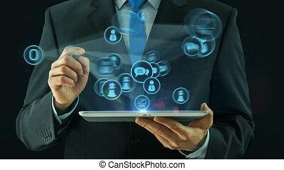wijzende, zakelijk, blok, markt, online, tablet, lijn, man, concept, marketing
