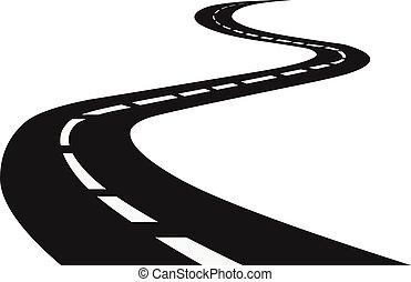 wikkeling, highway., road., reis, verkeer, straat, perspective., gebogen, horizon