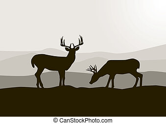 wild, hertje, silhouette