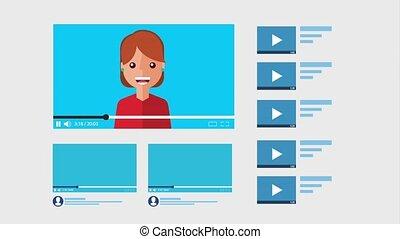 wimpel, online, meisje, video, blogger, vaart
